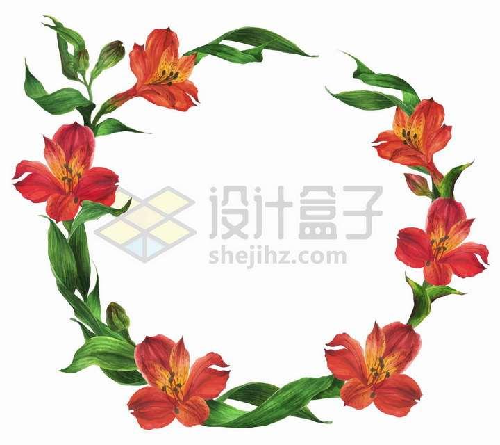 红色百合花和绿叶组成的花环png图片免抠矢量素材