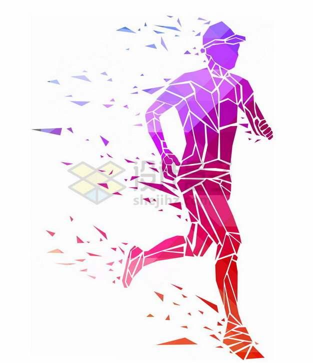 红色碎片组成奔跑的男人抽象体育插画png免抠图片素材
