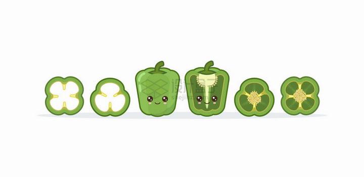 卡通可爱的青椒蔬菜表情包png图片免抠矢量素材 生物自然-第1张
