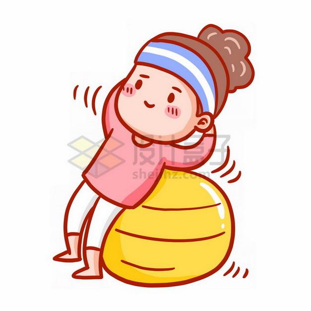 卡通女孩用瑜伽球健身表情包png免抠图片素材 休闲娱乐-第1张