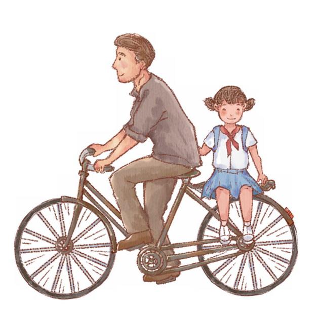 彩绘爸爸骑自行车带着女儿出行父亲节673195png图片素材 人物素材-第1张
