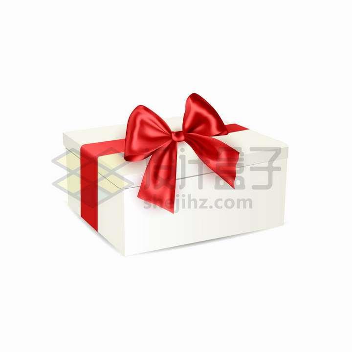 红色丝带蝴蝶结的空白包装盒礼物盒png图片免抠矢量素材