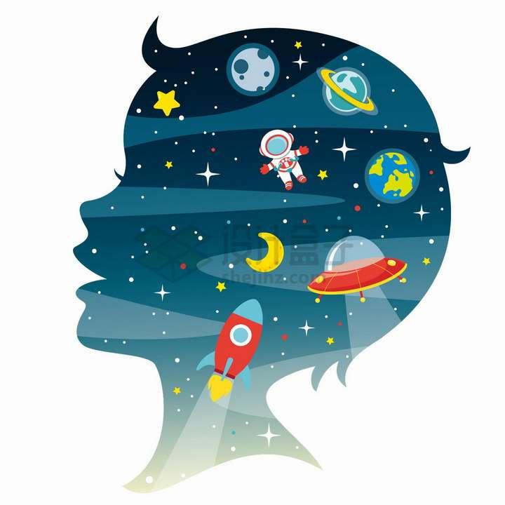 儿童脑袋剪影脑海中的外太空想象力配图png图片免抠矢量素材