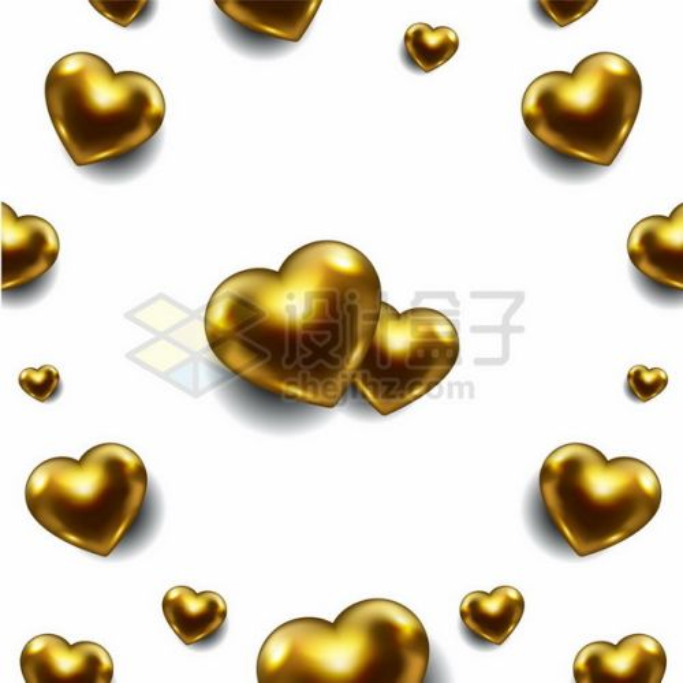 3D立体金色心形图案963950png图片素材