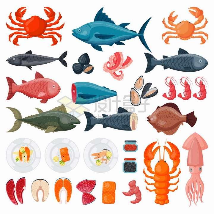 各种卡通螃蟹三文鱼大龙虾乌贼等海鲜美味美食png图片免抠矢量素材