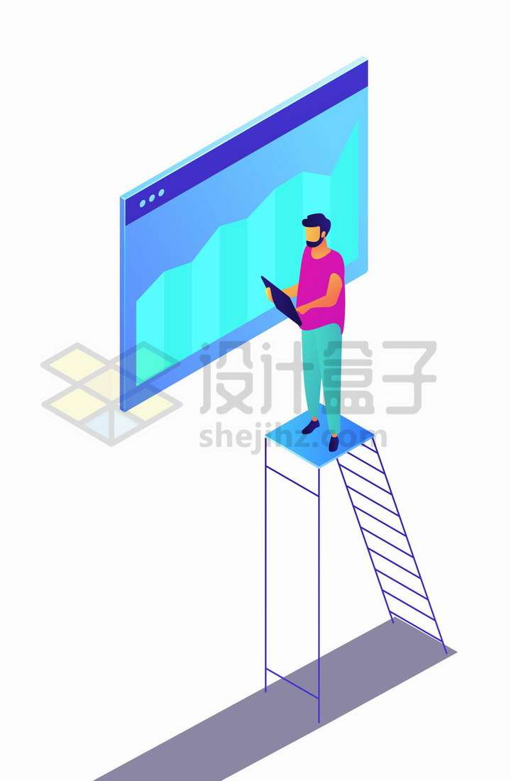 爬梯子的程序员分析数据统计界面png图片免抠矢量素材