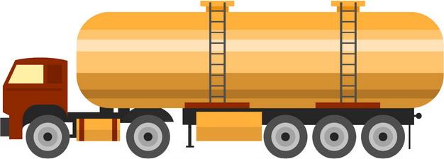 黄色槽罐车油罐车危险品运输卡车侧视图扁平化风格228254png图片素材 交通运输-第1张