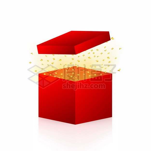 打开的红色礼盒中飞出的金黄色碎纸屑654668png图片素材