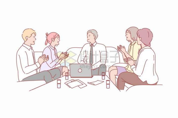 围坐在一起业务讲解培训开会商务手绘插图png图片免抠矢量素材