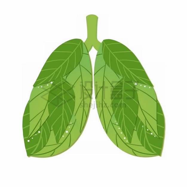 树叶组成的人体肺部png免抠图片素材
