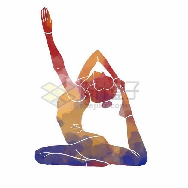 艺术体操瑜伽动作彩色涂鸦5873902png免抠图片素材