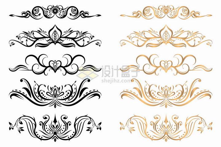 5款黑色金色盛开的花朵花纹png图片免抠矢量素材1