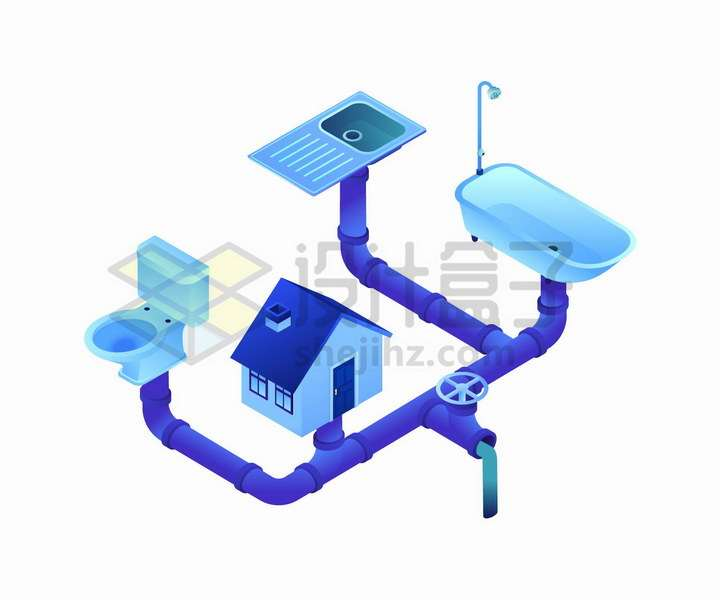 2.5D风格房屋污水水管结构图png图片免抠矢量素材