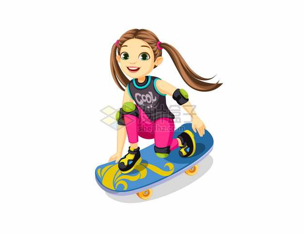 双马尾卡通女孩玩滑板834642png图片素材