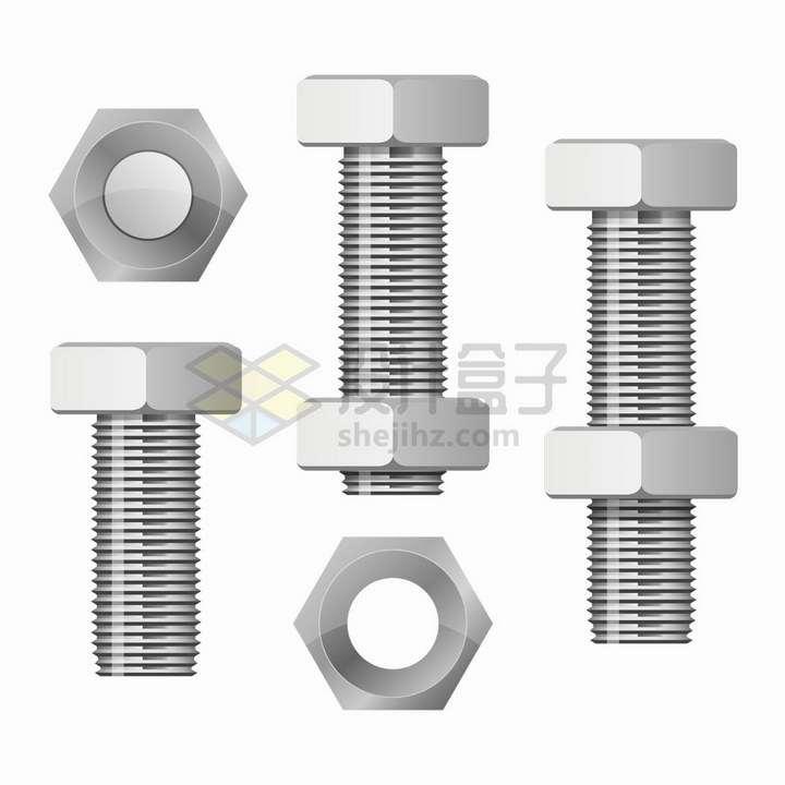 六角螺栓和螺母png图片免抠矢量素材