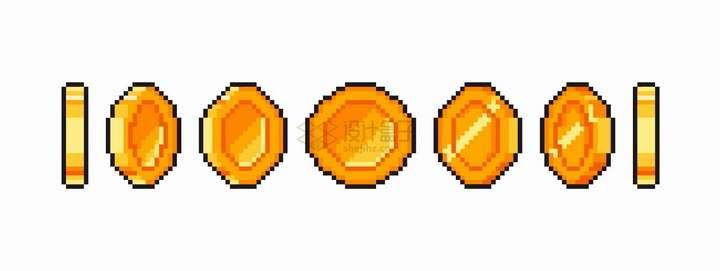 各种角度的像素风格金币png图片免抠eps矢量素材