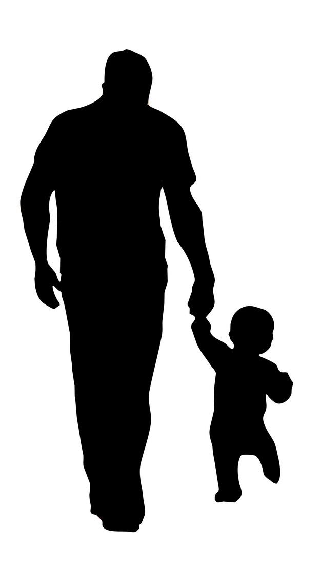爸爸拉着宝宝的手父亲节剪影423542png图片素材