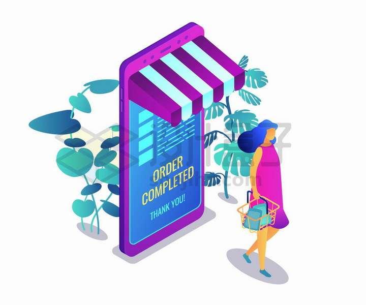 2.5D风格提着购物篮从手机上买东西的客户png图片免抠矢量素材