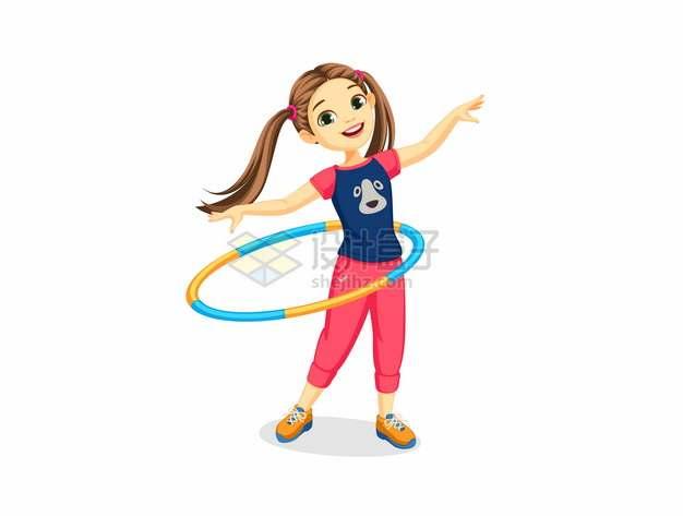 双马尾卡通女孩玩呼啦圈232347png图片素材