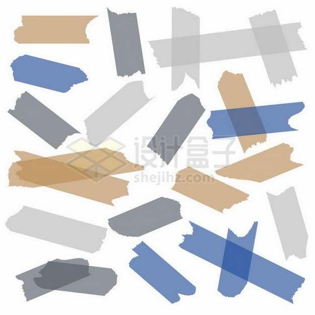 各种彩色透明胶带贴纸效果png图片免抠矢量素材