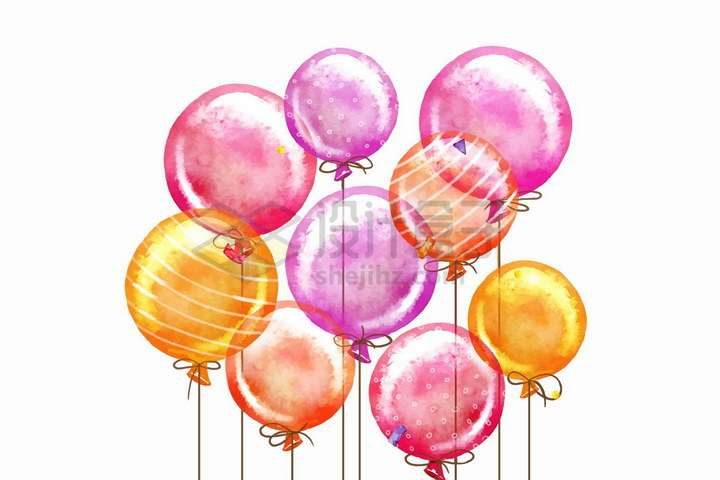 水彩画风格粉色黄色红色气球png图片免抠矢量素材