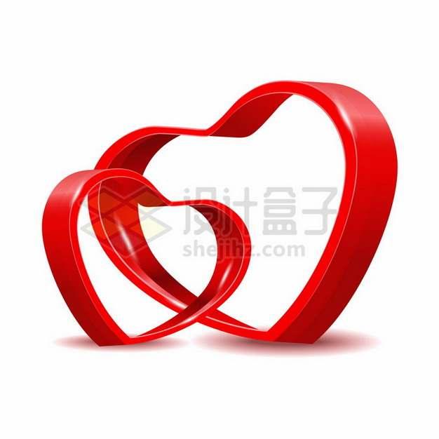 3D立体空心红心图案情人节心形符号891010png图片素材