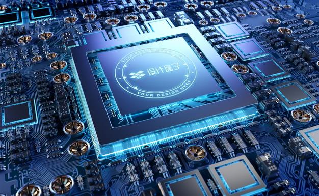 科技风格的集成电路芯片CPU表面发光图案psd样机图片模板素材 样机-第1张
