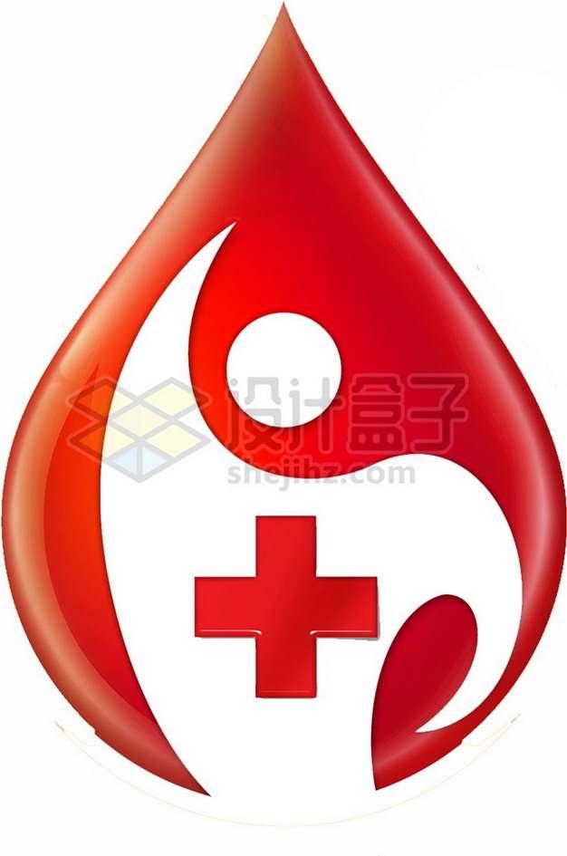 红色血液无偿献血标志png图片素材