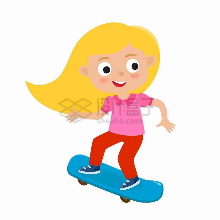 正在玩滑板的卡通金发女孩png图片免抠矢量素材