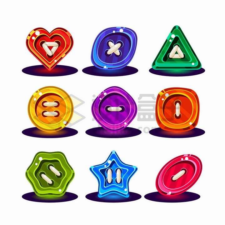 9款卡通风格彩色水晶心形三角形圆形四边形五角星等纽扣形状png图片免抠矢量素材