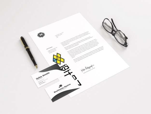 一张A4纸上的文字logo图案和名片钢笔眼镜psd样机图片模板素材