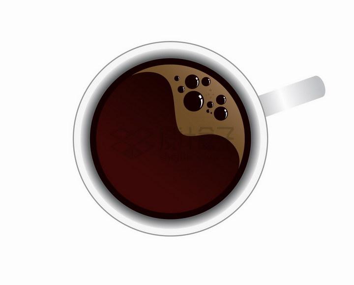 冒泡的咖啡杯美味咖啡饮料俯视图png图片免抠矢量素材 生活素材-第1张