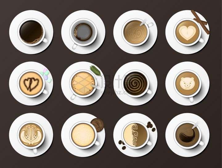 12款俯视视角的咖啡杯和美丽的拉花png图片免抠矢量素材