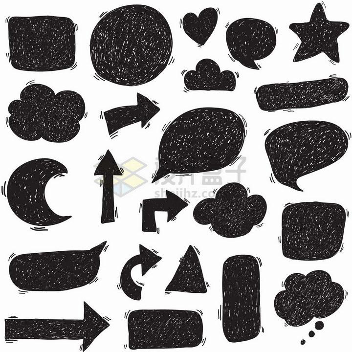 各种黑色涂鸦箭头气泡对话框等png图片免抠矢量素材