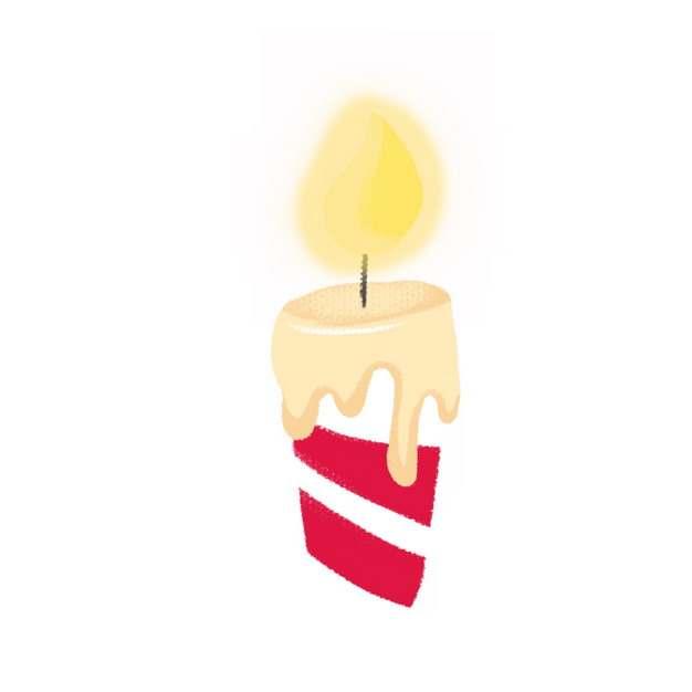 卡通红白条纹生日蜡烛7098218png图片素材