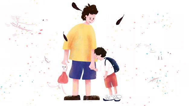爸爸牵着儿子的手父亲节插画387952png图片素材 人物素材-第1张