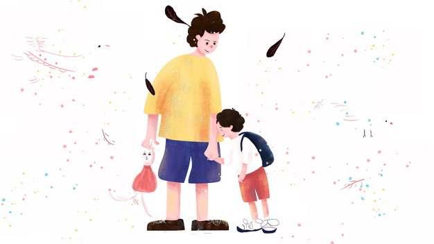 爸爸牵着儿子的手父亲节插画387952png图片素材