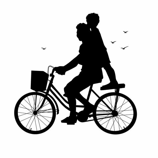 爸爸骑自行车带着儿子玩耍父亲节剪影246372png图片素材 人物素材-第1张