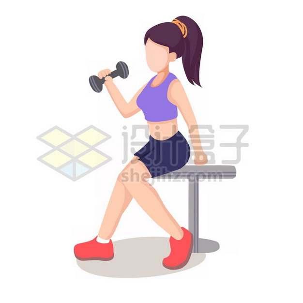 健身房卡通健身女孩拎哑铃png图片素材699567