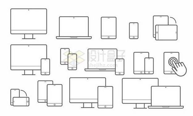 简约线条笔记本电脑显示器手机等图案png图片免抠矢量素材