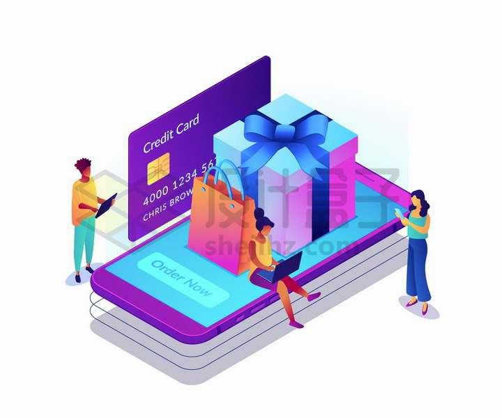 2.5D风格坐在紫色手机上购物的女人png图片免抠矢量素材