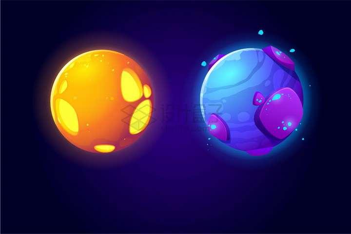 橙色和紫色两款卡通星球png图片免抠eps矢量素材