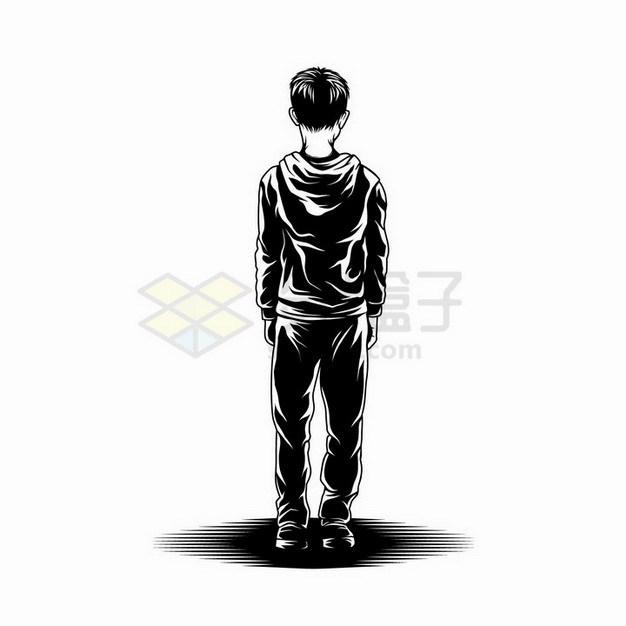 素描手绘立正站立的男孩背影剪影png图片免抠矢量素材 人物素材-第1张