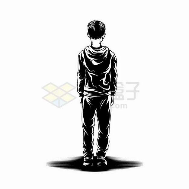 素描手绘立正站立的男孩背影剪影png图片免抠矢量素材