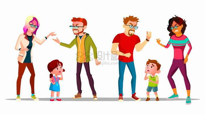 2款父母当着孩子的面在吵架png图片免抠矢量素材
