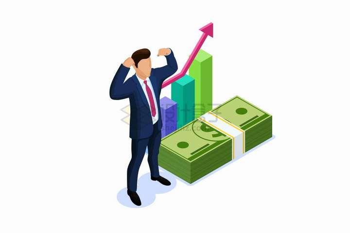 2.5D风格商务人士和美元钞票以及投资数据增长曲线png图片免抠矢量素材