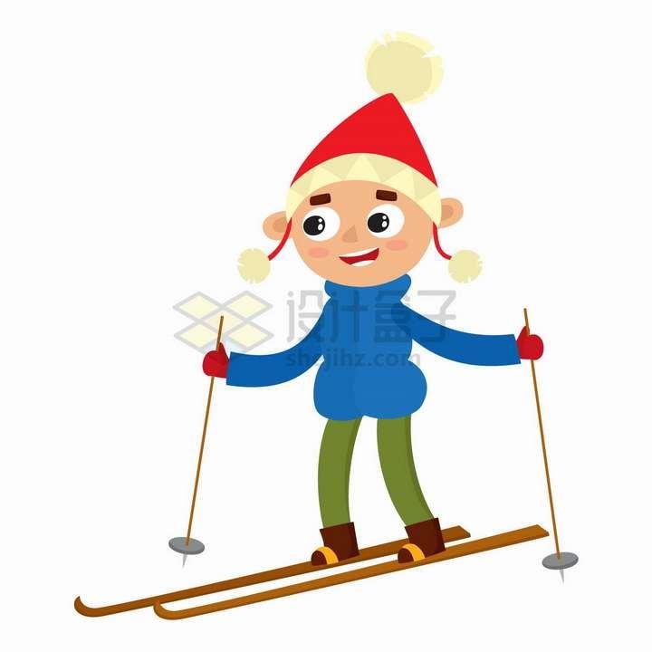 正在玩滑雪的卡通小男孩png图片免抠矢量素材
