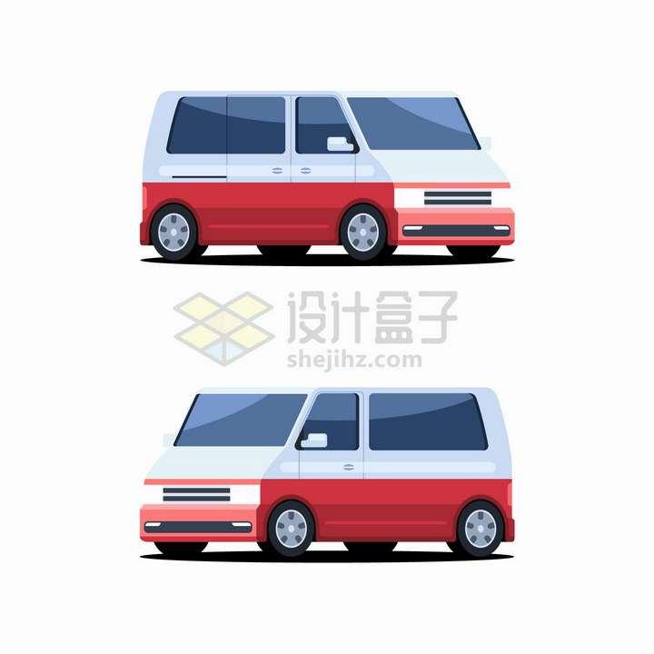 红白双色的商务车面包车png图片免抠eps矢量素材