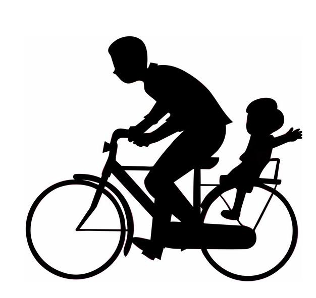 爸爸骑自行车带着儿子父亲节剪影436675png图片素材 人物素材-第1张