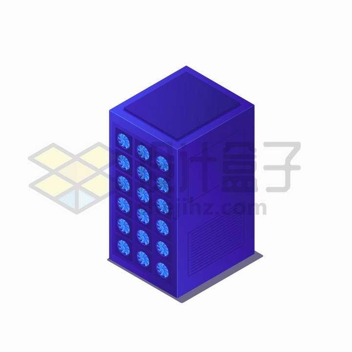 2.5D风格带大量散热扇的紫色服务器机架png图片免抠矢量素材